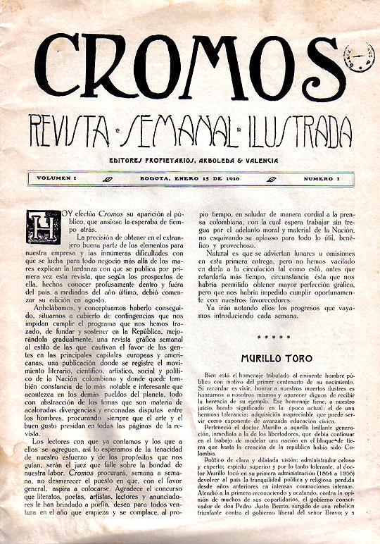Página Interior edición Nº 1 de Revista Cromos