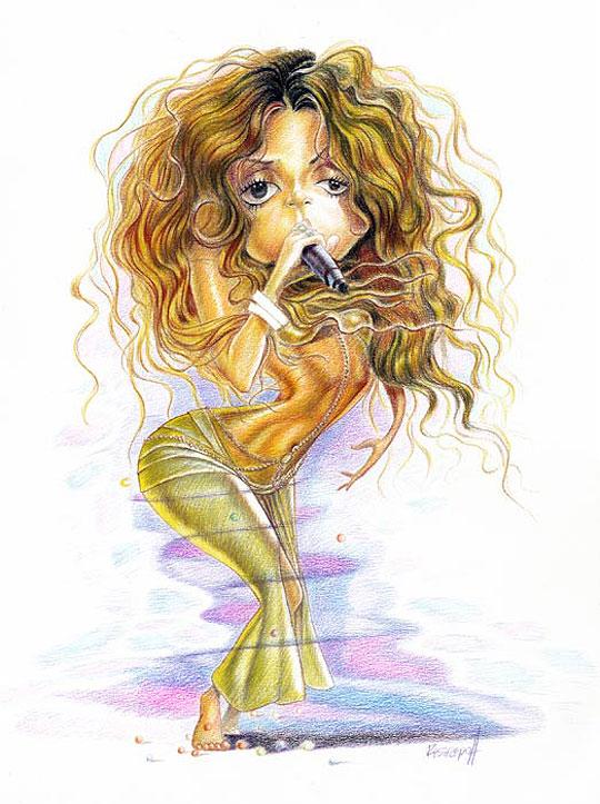 Caricatura de Shakira por Jorge Restrepo
