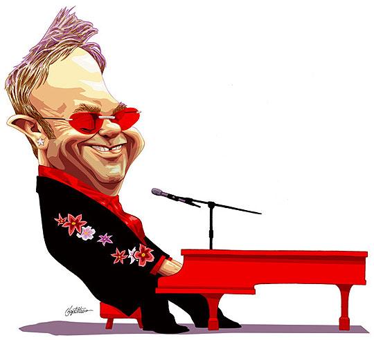 Caricatura de Elton John por BAPTISBAO