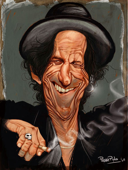 Caricatura de Keith Richards por PABLO PINO