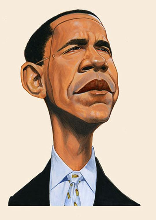 Barak Obama, caricatura por ISMAEL ROLDAN