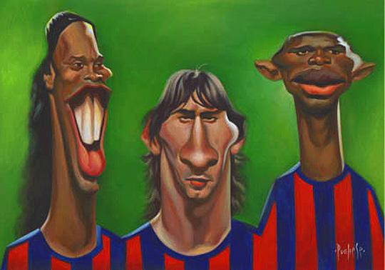 Caricatura de Ronaldinho, Messi y Eto'o por de DAVID PUGLIESE