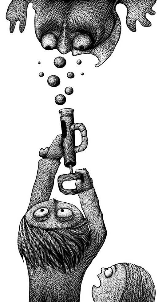 Ilustración en Scratchboard de WALTHER SORG