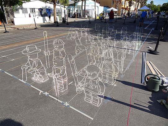 Arte urbano. Lego con tiza de los guerreros de Terracota