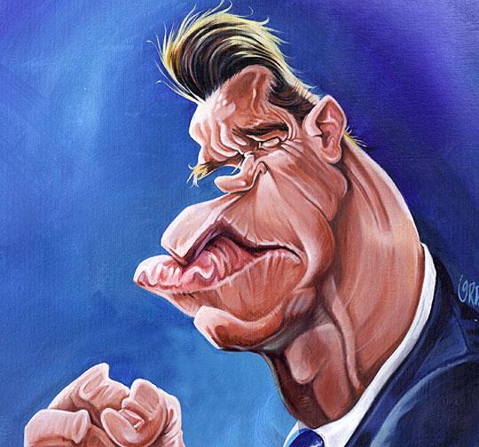 Caricatura. Arnold Swarzeneger por LUIS ORDOÑEZ.