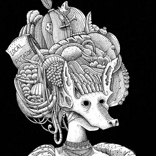 Dibujo e ilustración en tinta de Mr MEAD