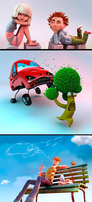 Ilustración 3D y CG de ANTON BUGAEV Aka LEMONOFF.