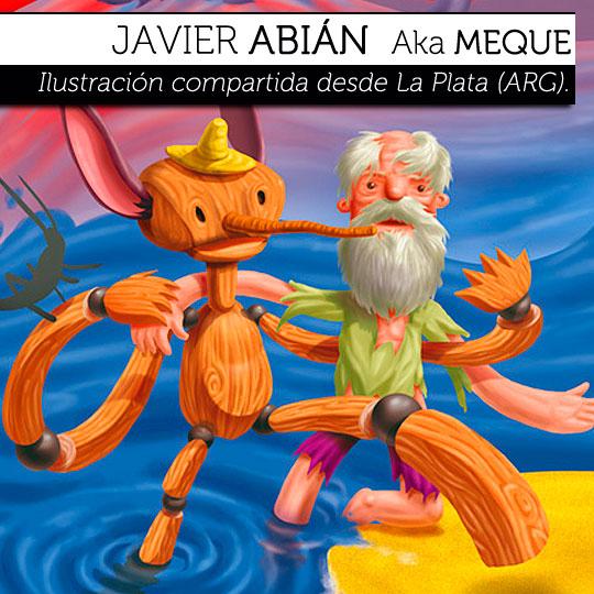 Ilustración. Pinocho para Fabulandia 3 de JAVIER ABIÁN.