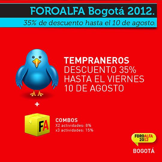 Descuento FOROALFA Bogotá para tempraneros.