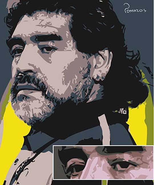 Ilustración. Maradona de EDUVING PORRAS aka  Porrazos.