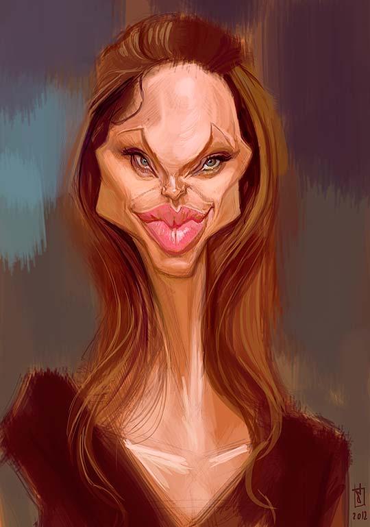 Caricatura de Angelina Jolie por ALBERTO RUSSO Aka Sting