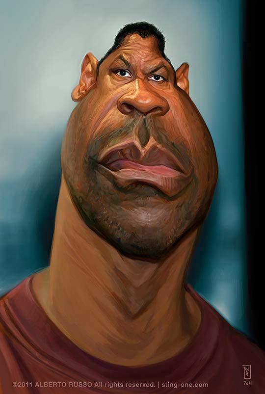 Caricatura de Denzel Washington por ALBERTO RUSSO Aka Sting