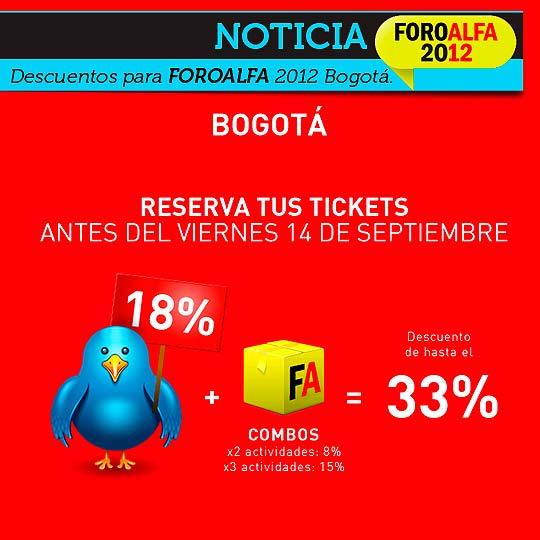 Esta semana 18% a 33% de descuento para FOROALFA 2012 Bogotá