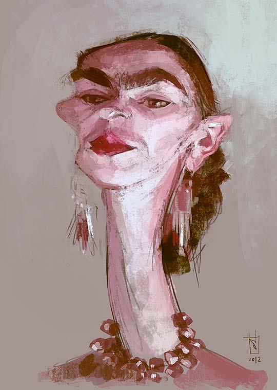 Caricatura de Frida Kahlo por ALBERTO RUSSO Aka Sting