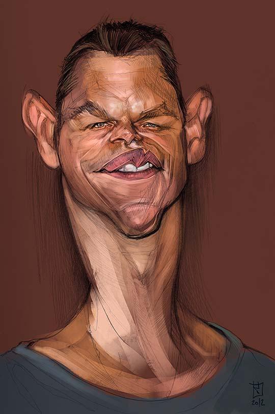 Caricatura de Matt Damon por ALBERTO RUSSO Aka Sting