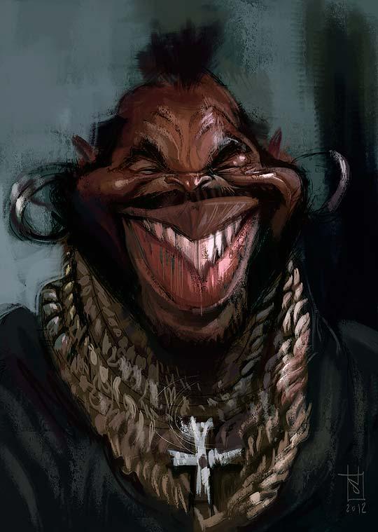 Caricatura de Mr T por ALBERTO RUSSO Aka Sting