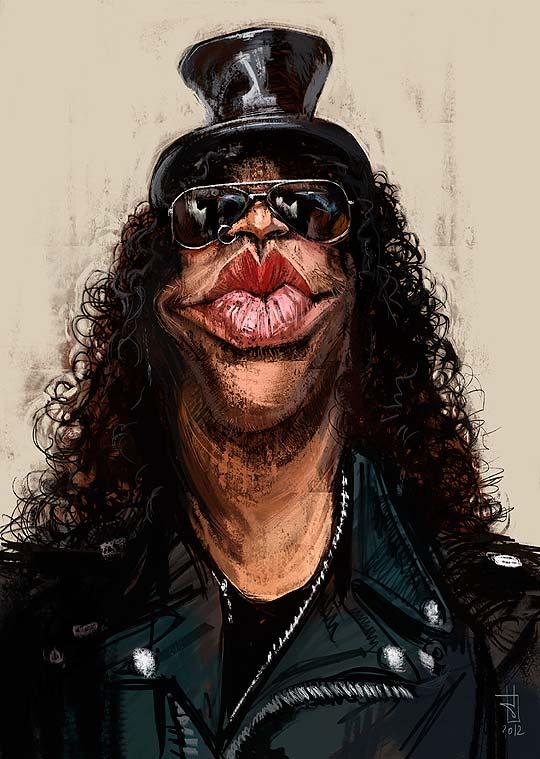 Caricatura de Slash por ALBERTO RUSSO Aka Sting