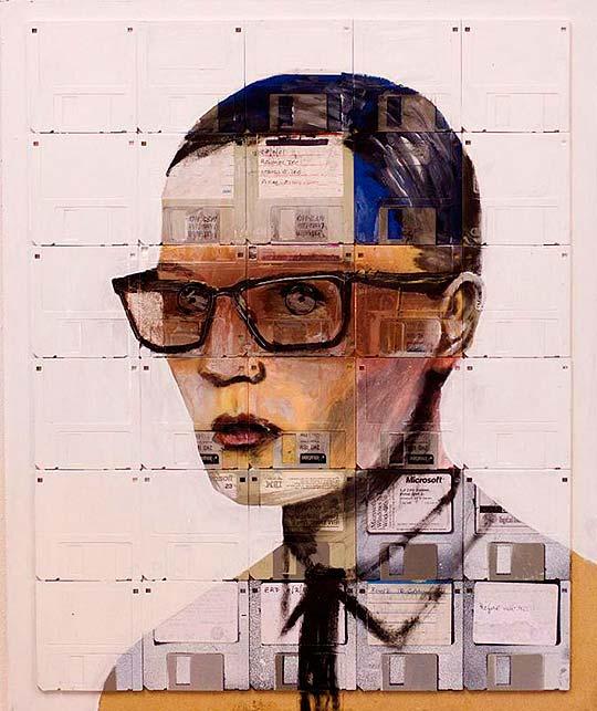 Pintura en disquetes de NICK GENTRY