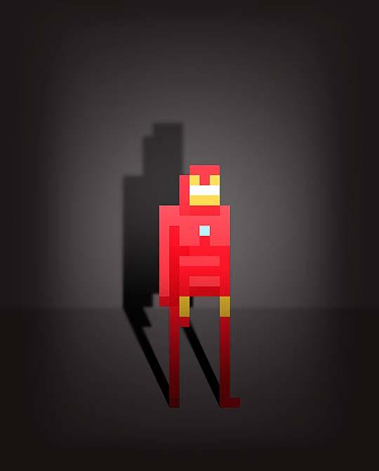 Personajes del comic y superhéroes en pixel de ERCAN AKKAYA.