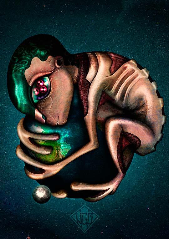 Abrazo cósmico de JONA NEGBU.
