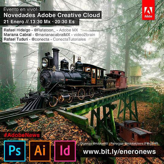 Hoy, conoce en vivo las novedades de Adobe Creative Cloud.
