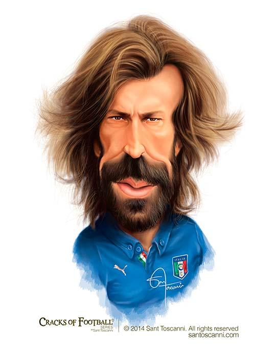 Caricatura de Andrea Pirlo por Sant Toscanni