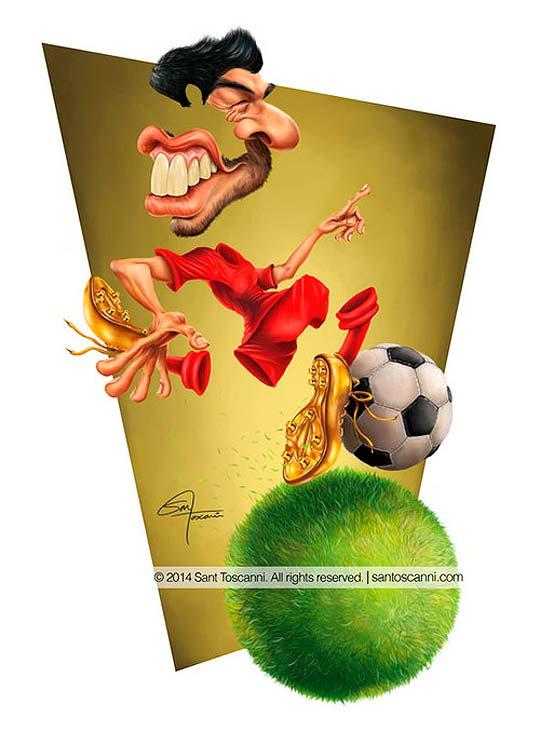 Caricatura de Luis Suarez por Sant Toscanni