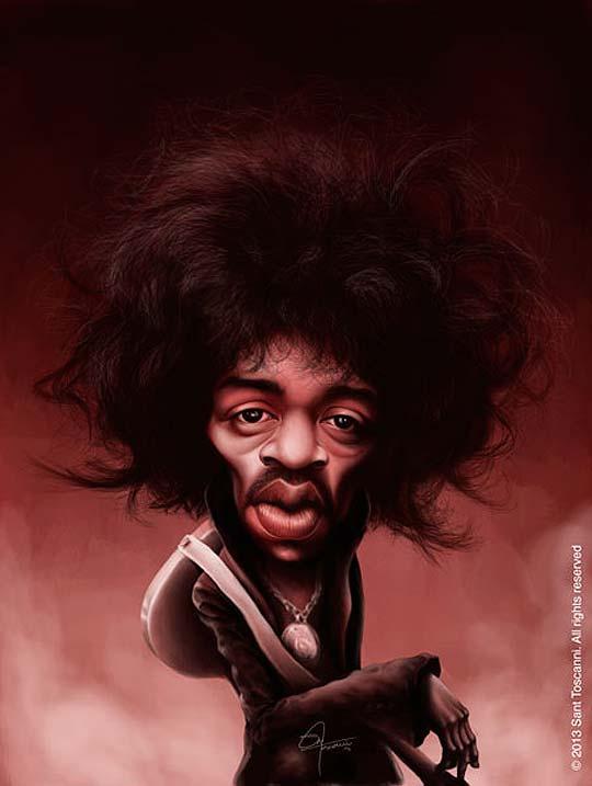 Caricatura de Jimi Hendrix por Sant Toscanni