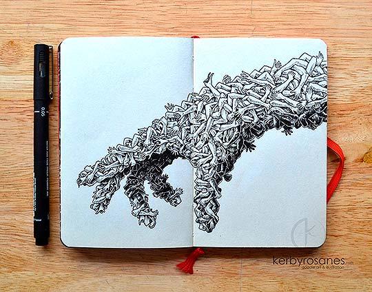 Ilustración y bocetos en tinta de KERBY ROSANES