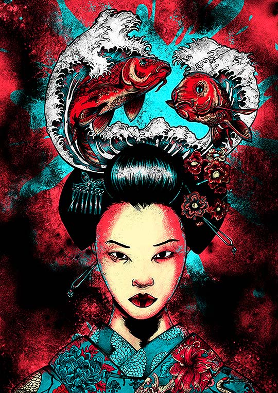 Ilustración. Geisha de PAULA GARNELO aka Rey Polilla